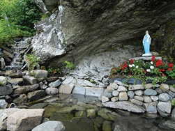 Grotto of the Virgin of the Rock inside a beautiful park.