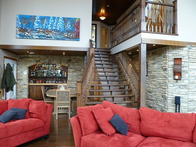 Chalet Laroche-living room and stairs